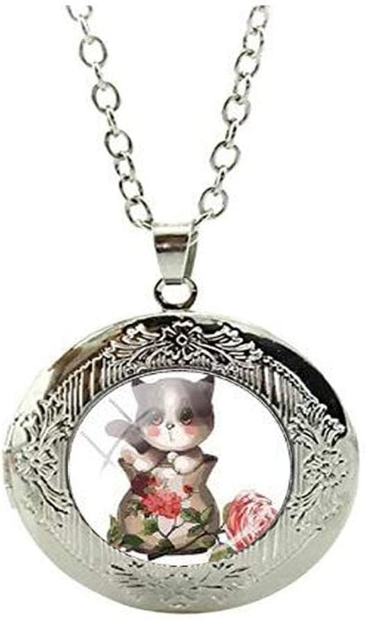 Beautiful Unique Cat Locket Necklace Cat Glass Art Photo Jewelry Birthday Festival Gift Beautiful Gift
