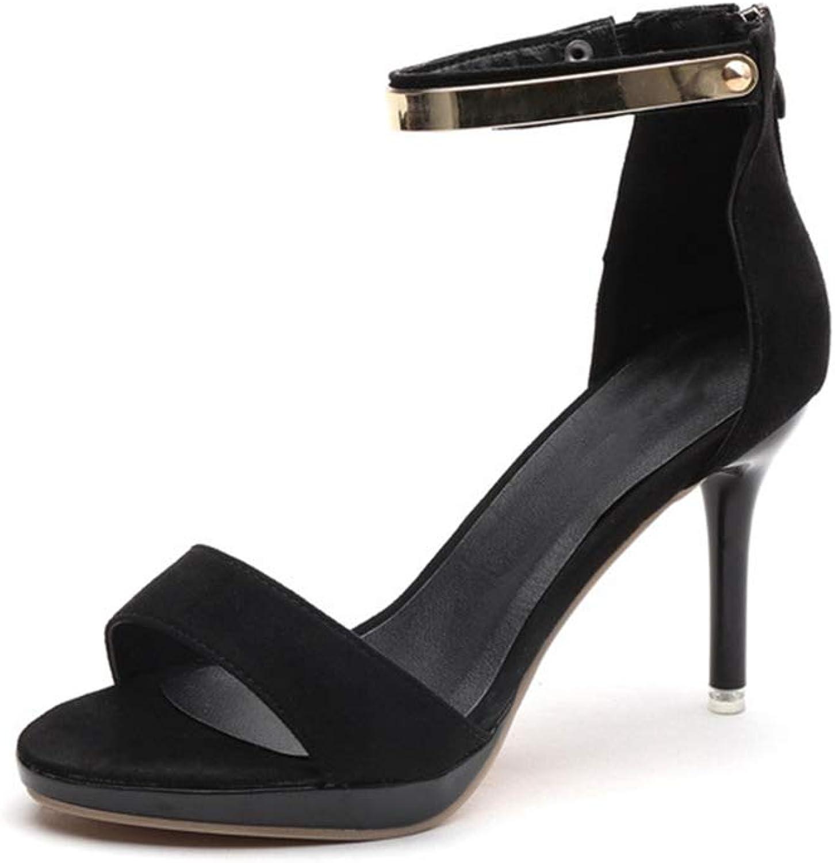 Women's Pumps,Open Toe Thin Heel Pink Black Summer Ankle Buckle Sandals