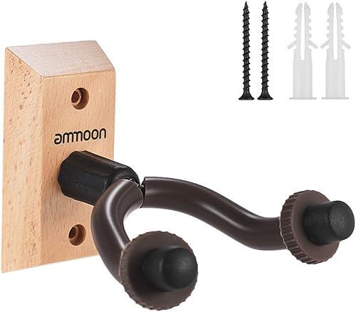 ammoon Support Mural pour Guitare Crochet de Guitare en Bois pour Guitare Basse Ukulélé Instrument à Cordes GH-01