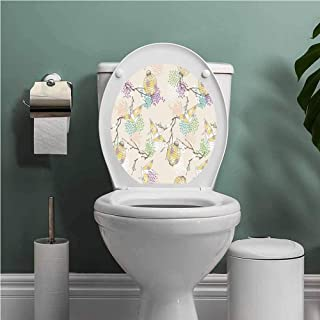 Thinkinghome Lantern Toilet Decals Colorful Origami Cranes Paper Lanterns with Branches and Flowers Culture Funny Grow Sticker Decal Lilac Pink Beige Yellow W12XL14 INCH