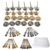 Kimlonton 48個セット真鍮/ステンレス鋼ワイヤーブラシ ボウル型、T型、ペン型3種類 錆落とし 塗装剥がし 研削 研磨ホイール ロータリーツール ワイヤーブラシ 電動ドリル ドリルドライバー