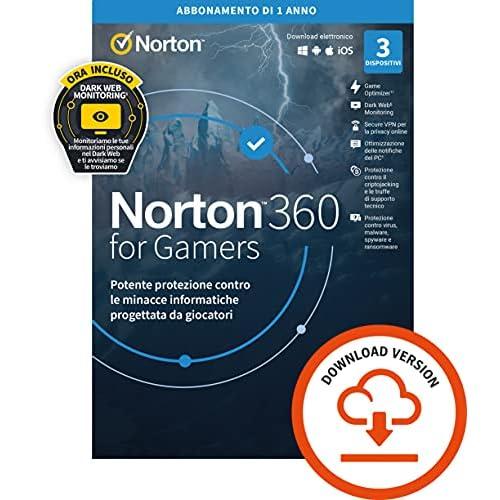 Norton 360 for Gamers 2021| Antivirus per 3 Dispositivi | Licenza di 1 anno | PC o Mac | Codice di attivazione via email