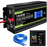Novopal Power Inverter Pure Sine Wave-1500 Watt 12V DC to 230V/240V AC Converter-LCD Display 2AC Outlets Car Inverter with One USB Port-5 Meter Remote Control And Two Cooling Fans-Peak Power 3000 Watt