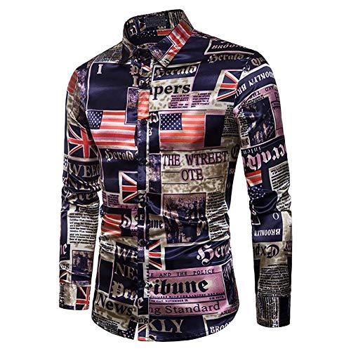 Estante Camisas for hombres, Otoño e Invierno Moda for hombre Diseño de impresión dinámica Camisa de manga larga con solapa for hombres, Color 1, ** L, Nombre del tamaño: L, Nombre del color: Color 1 ⭐