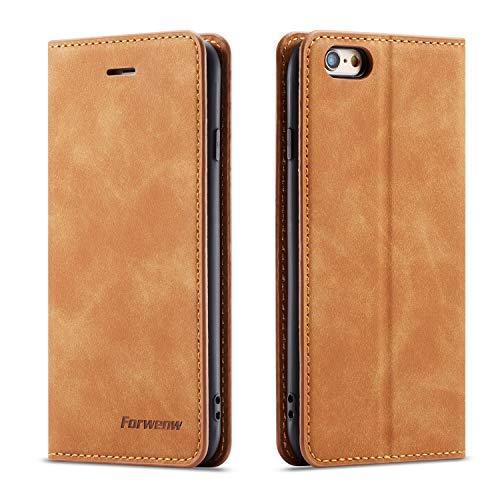 QLTYPRI Hülle für iPhone 6 iPhone 6S, Premium Dünne Ledertasche Handyhülle mit Kartenfach Ständer Flip Schutzhülle Kompatibel mit iPhone 6 iPhone 6S - Braun