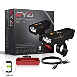 DYZI USB Rechargeable Bike Lights Set - 3000 Lumens Waterproof Front Headlight - 100 Lumens Tail Light, Water...
