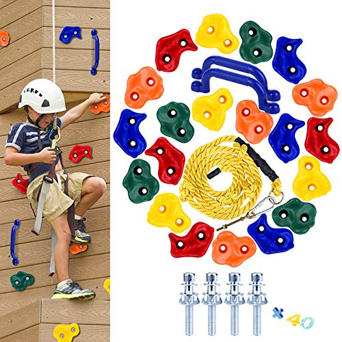 HAPPY MOTTE 20 Rock Wall Climbing Holds for Kids, with 8.53 Foot Climbing Knotted Rope and Handles Indoor and Outdoor Playground Play Set Slide Accessories with 2 Inch Mounting Hardware