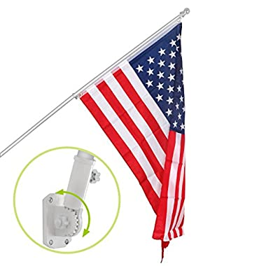 F2C 6FT Silver/White Tangle Free Spinning Flagpole Kit Outdoor Sliver Ball W/Free US American Flag Pole Residential or Commercial Use (6FT Silver W/Flag)