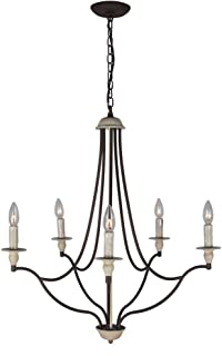 Baiwaiz Rustic Candle Chandelier Lighting for Living Room, Metal Vintage Dining Room Chandelier Antique French Country Chandelier Pendant Light 5 Lights Edison E12 098