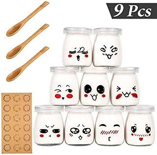 comprar comparacion Yangbaga Vasos para Yogurtera, 9 Vasos de Repuesto Tarros Cristal Pequeños con Tapa Plastico para Preparar Yogures, Postre...