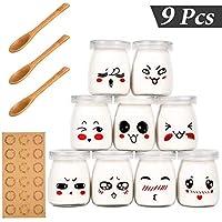 Vasos para Yogurtera, Yangbaga 9 Vasos de Repuesto Tarros Cristal Pequeños con Tapa Plastico para Preparar Yogures, Postres y Natillas para los Potitos de los Bebés 100ml