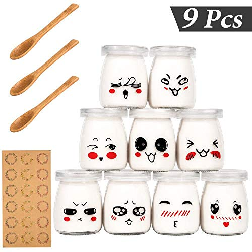 Yangbaga Vasos para Yogurtera, 9 Vasos de Repuesto Tarros Cristal Pequeños con Tapa Plastico para Preparar Yogures, Postres y Natillas para los Potitos de los Bebés 100ml