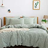 JELLYMONI 100% Natural Cotton 3pcs Striped Duvet Cover Sets,White Duvet Cover with Green Stripes Pattern Printed Comforter Cover,with Zipper Closure & Corner Ties(Queen Size)