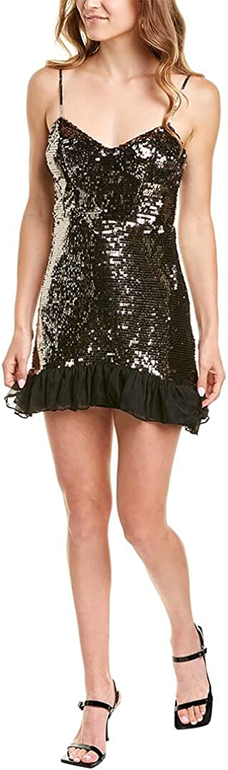 French Connection Womens Biellare Mini Sequined Cocktail Dress Gold 6