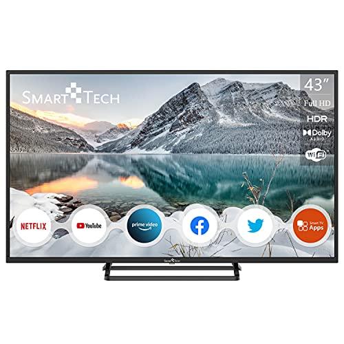 SMART TECH Tech SMT43N30FV1U1B1 108cm (43 Zoll) LED Fernseher SMART TECH TV (FHD, Netflix, YouTube, netrange, Browser) Schwarz