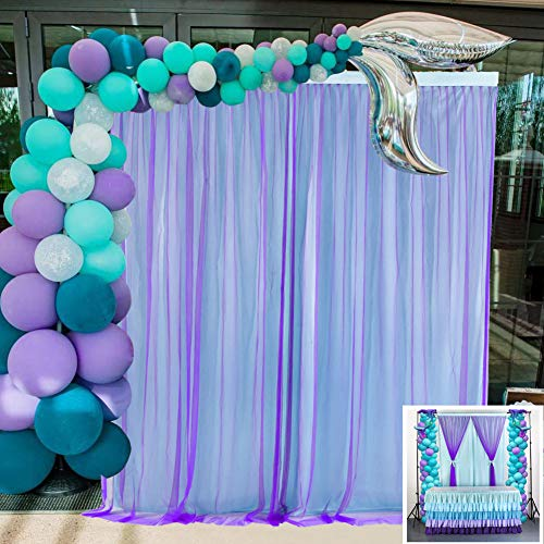 Mermaid Backdrop Curtain Purple Tulle Backdrop with Blue Bow Tie for Weddings Baby Shower Birthday Party Engagement Photography 5 ft X 7 ft