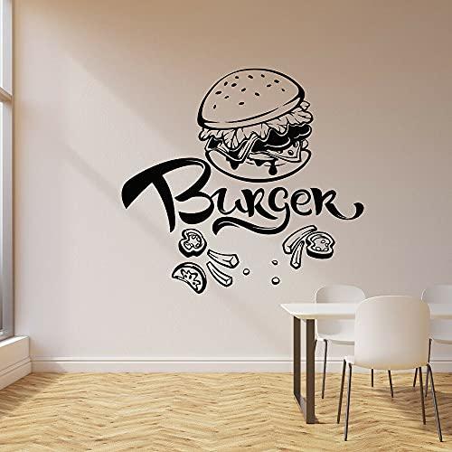 Calcomanías de pared de hamburguesa, comida rápida, cafetería, restaurante, decoración de restaurante, vinilo, guardería, habitación de niños, pegatinas de pared interior A6 44x42cm