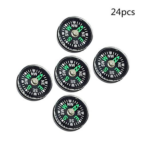 Ama-ZODE 24 Stück Mini Button Kompass 20mm Mit Flüssigkeit Gefüllt Überlebens Kompass zum Draussen Camping Wandern Bootfahren und Paracord Armbänder von SamGreatWorld
