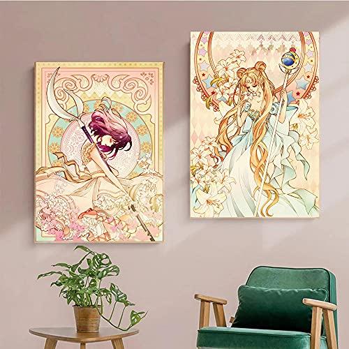 TXTYUMR Luna Anime Card Poster Arte Murale Murale Poster Camera da Letto Decorazione della Casa HD Stampa su Tela Pittura Senza Cornice
