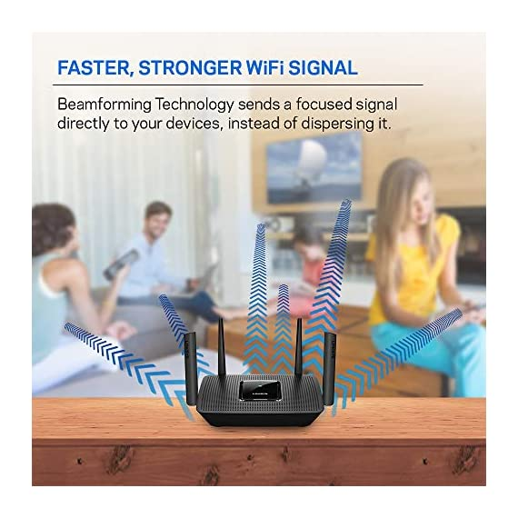 Linksys AC2200 Smart Mesh Wi-Fi Router for Home Mesh Networking, MU-MIMO Tri-Band Wireless Gigabit Mesh Router, Fast… 4 Provides up to 2,000 square feet of Wi-Fi coverage for 20+ wireless devices Works with existing modem, simple setup through Linksys App. Mobile device with Android 4.4 or iOS 9 and higher, Bluetooth preferred Enjoy 4K HD streaming, gaming and more in high quality without buffering