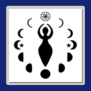 9 X 9 inch Wiccan Goddess Stencil Template with Moon Phases and Stars Wicca/Pagan/Nature