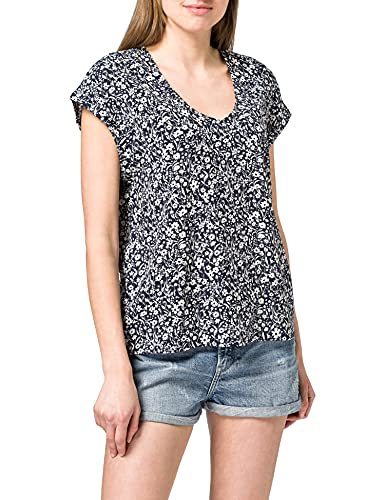 TOM TAILOR Denim Damen 1024993 Tunic Bluse, Blue Flower Print (16355), XXL