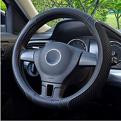 BOKIN Steering Wheel Cover, Microfiber Leather and Viscose, Breathable, Warm in Winter and Cool in Summer, Universal 15 Inches (New Black)