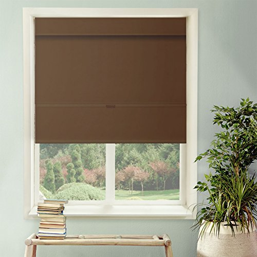 Chicology Cordless Magnetic Roman Shades / Window Blind Fabric Curtain Drape, Thermal, Room Darkening - Mountain Chocolate, 23