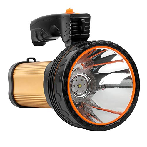 SUPGLAZ Linterna LED brillante de 35 W, recargable, alta lúmenes, IPX5, impermeable, 9000 mAh, 6000 lúmenes, foco LED portátil para actividades al aire libre