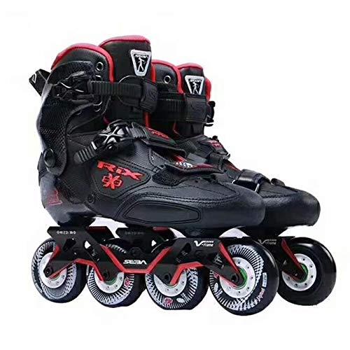 Yamyannie Patines Patines en línea Adultos Zapatos de Fibra de Carbono Slalom Slide Patinaje Libre para Principiantes (Color : Black, Size : 35)