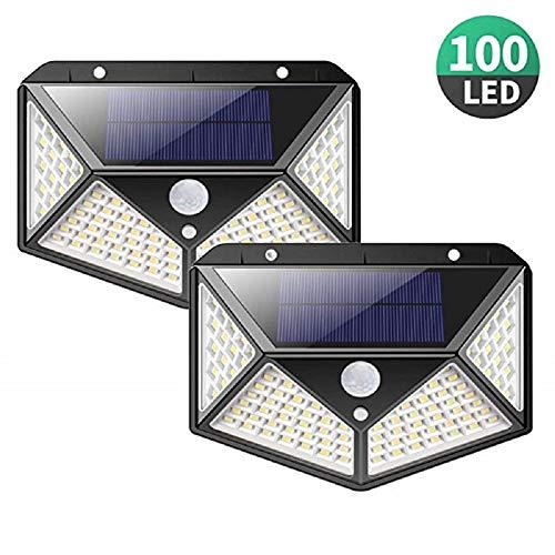 Lamp op zonne-energie voor buiten, 100 LED's, 2 stuks, zonnelamp, buiten, bewegingsmelder, verlichting 270 °, waterdicht, zonne-spot, voor buiten, 2200 mAh, krachtig, draadloos, voor tuin