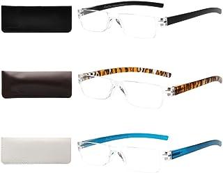 d7279951dc66 LIANSAN Designer Rimless Light Weight Rectangular Fashion Reading Glasses  Men Women Plastic Portable Stylish Readers with