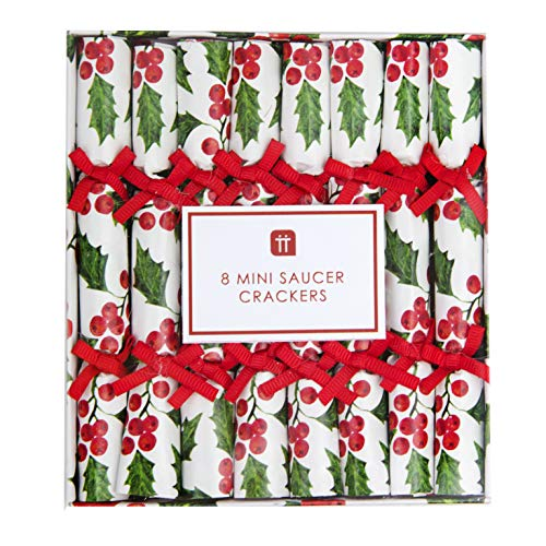 Talking Tables Pack of 8 (Size 12.5cm) Holly Saucer Christmas Crackers-Contains Snap and Scroll