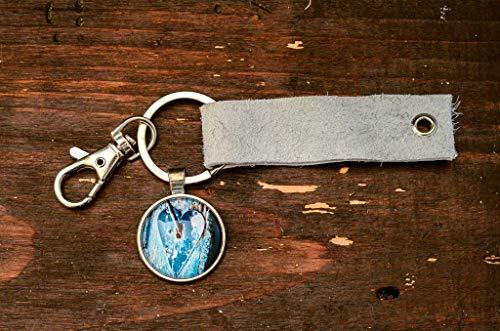 Herz altes Türschloß Foto Cabochon und Lederanhänger handmade Geschenk für sie