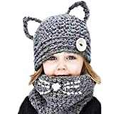 Winter Kid Animal Knit Hat Warm Fox Cat Animal Hats Knitted Coif Hood Scarf Beanies for Autumn Winter (A Gray(3-8years Old))