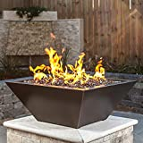BBQGuys Signature Westfalen 24-Inch Square High-Rise Natural Gas Column Fire Bowl - Oil Rubbed Bronze