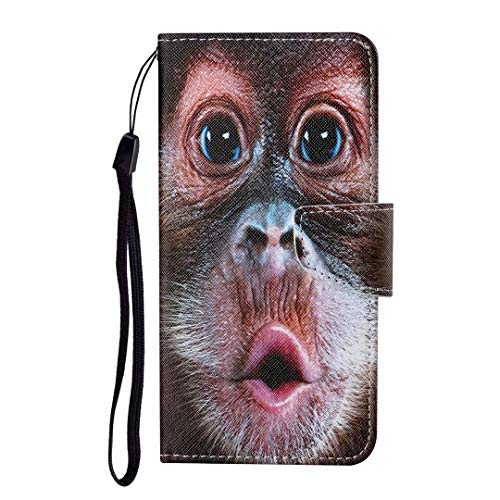 for Xiaomi Redmi Note 9S 9 Pro 9 Pro Max Case, Shockproof Premium PU Leather Shock-Absorption Notebook Wallet Phone Cases with Magnetic Kickstand Card Holders Bumper Flip Protective Cover orangutan