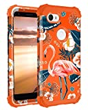 Casetego Compatible with Google Pixel 3a XL Case,Floral Three Layer Heavy Duty Hybrid Sturdy Shockproof Full Body Protective Cover Case for Google Pixel 3a XL,Flamingo