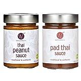WATCHAREE'S Thai Peanut & Pad Thai Sauce | Vegan | Authentic Traditional Thai Recipe | 2pk Combo Jars