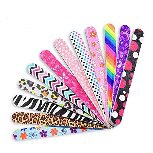 IFUNSON Professional Nail File and Buffers for Women Girls, Natural Emery Boards, 150/150 Grit Colorful, 12 PCS