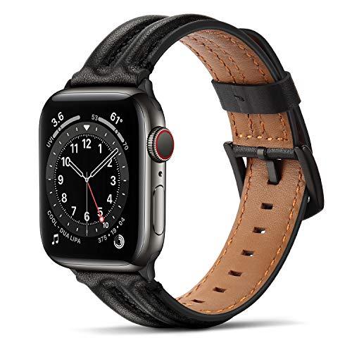 Tasikar Lederarmband Kompatibel mit Apple Watch Armband 42mm 44mm, Echte Leder Handgemacht Ersatz Armbänder kompatibel mit iWatch SE Series 6 5 4 3 2 1 - (42mm/44mm, Schwarz)