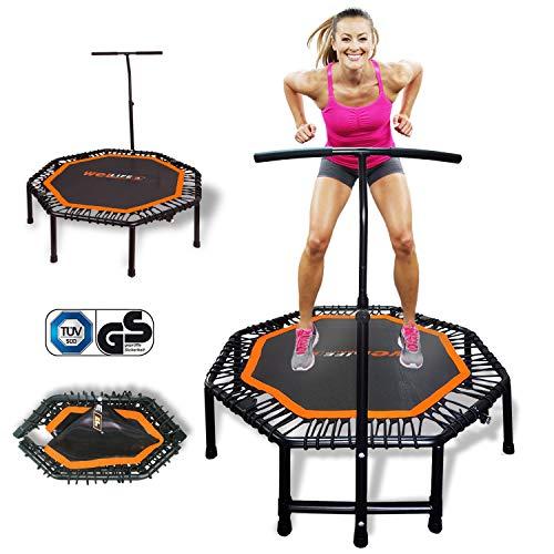 WELLIFE Tappeto Elastico Pieghevole 122cm Trampolino PRO Fitness Rebounder per Adulti e Bambini Maniglia Regolabile Elastici in Gomma Fitness Funzionale Workout