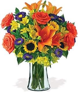 Elegant Day Orange Rose, Orange Lily, Sunflower Bouquet with Glass Vase (Fresh Flowers)