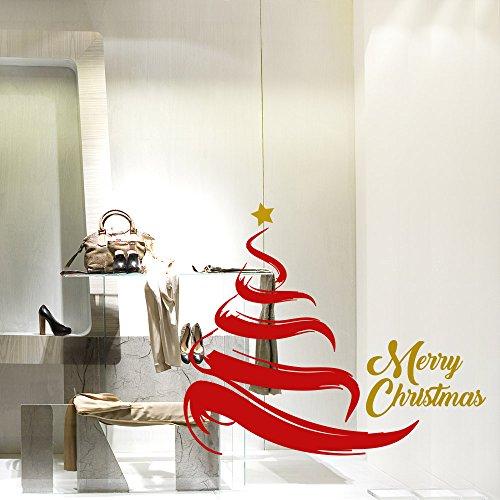 kina NT0221 Vetrofania Natalizia per vetrine Negozi - Decorazioni adesive per Natale 105x71 cm - Rosso e Oro