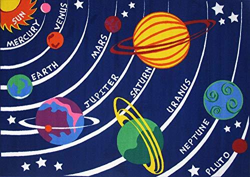 "Kids Educational Galaxy Planets Stars Rug Blue Solar System Fun Rug Children Area Rug for Playroom & Nursery - Non Skid Gel Backing (39"" x 59"")"