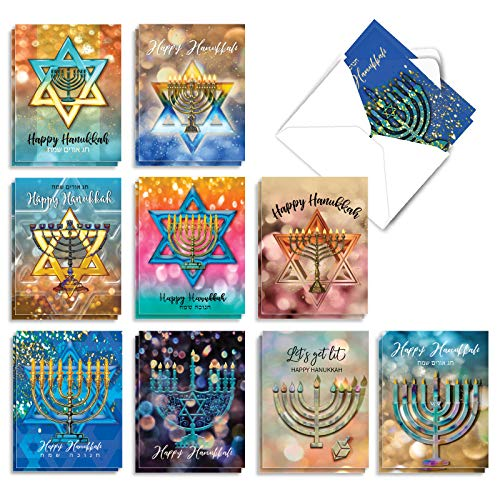 The Best Card Company - 20 Blank Hanukkah Cards Boxed (10 Designs, 2 Each) - Assorted Religious Chanukah Notecards, Jewish Holiday - Festival of Lights AM3687HKB-B2x10