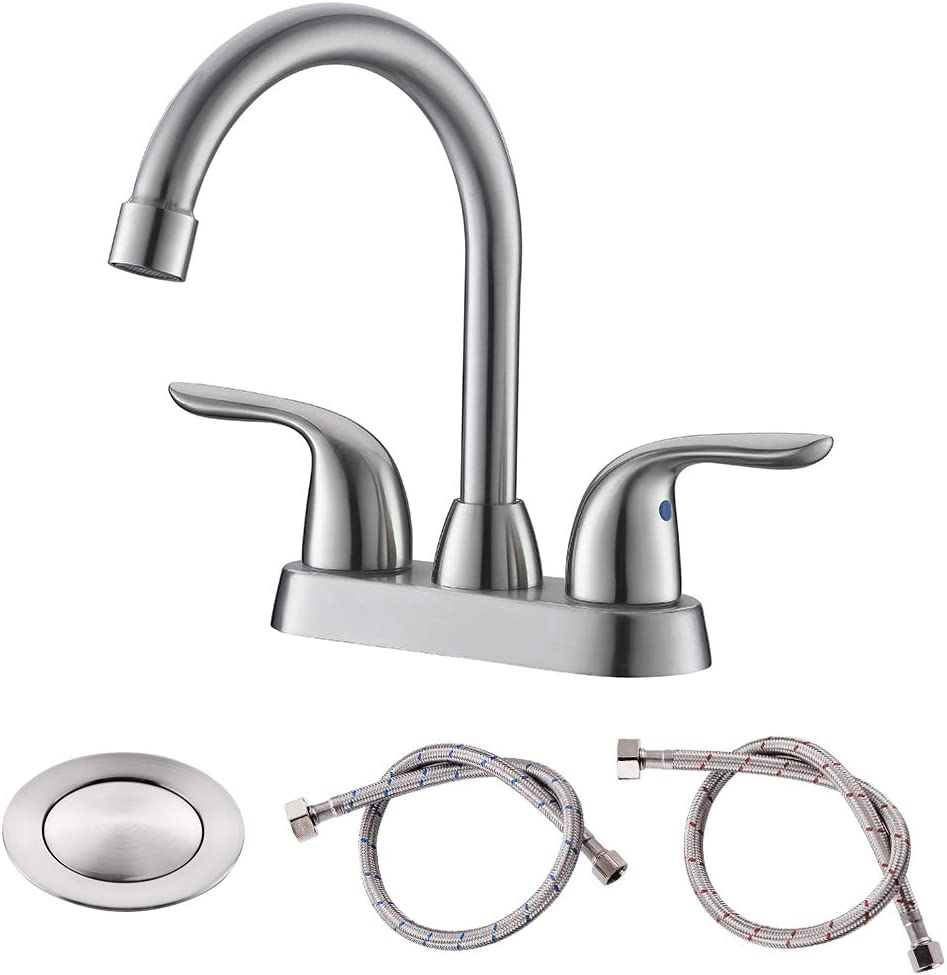 Buy Bathroom Sink Faucet With Pop Up Drain Assembly Two Handle Bathroom Faucet Temperature Control Easy To Install Durable Safety Lavatory Faucet Brushed Nickel Easy To Clean Online In