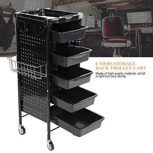 Salon Trolley, Friseur Arbeitswagen, Multifunktionswagen Friseursalon-Laufkatze mit 6 Schubladen Schwarz