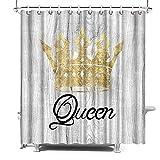 SiMiWOW Queen Duschvorhang 183 x 183 cm mit Haken Gold Krone Duschvorhang Mädchen Badezimmer Dekor maschinenwaschbar