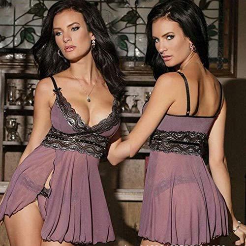 B/H Ropa Interior Babydoll Atractiva,La última lencería de Encaje de Mujer Sexy Caliente, Vestido de Pijama de Tanga Disfraz de Sexo erótico-XXL,Transparente Mini Bodydoll Sexy con Tapa